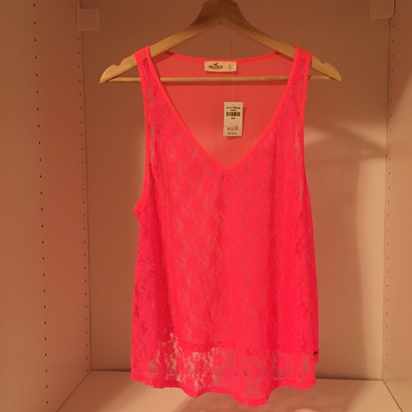 55758fbd949ce9 👚Hollister Hot Pink Lace Tank Top